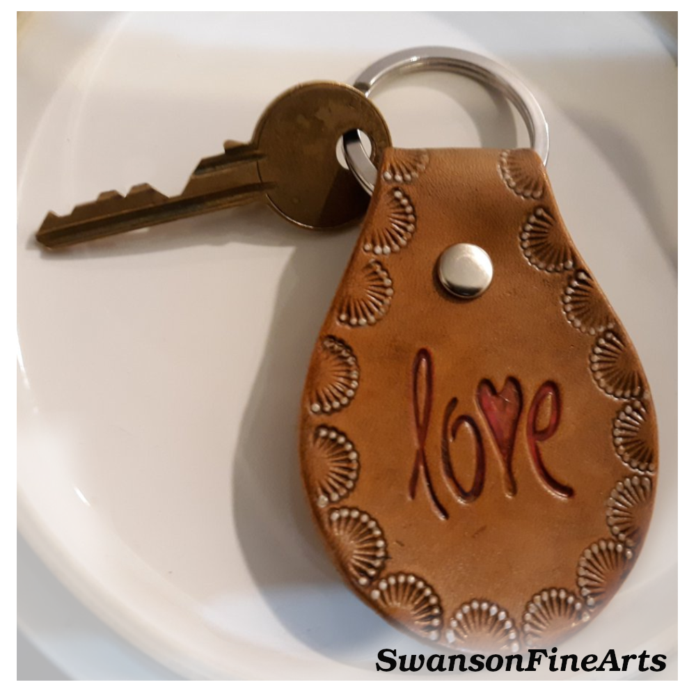 "Handmade leather keychain ""Love"""